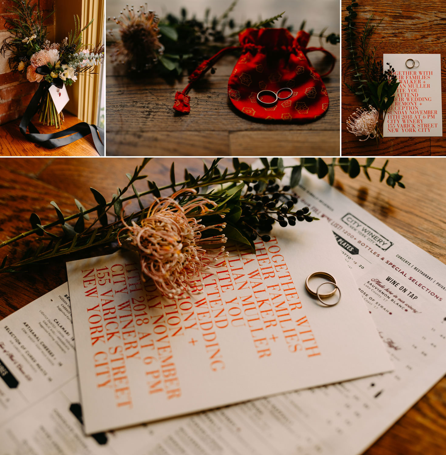 new york wedding photographer- flowers and decorations in city winery in Manhattan- Luke Sezeck