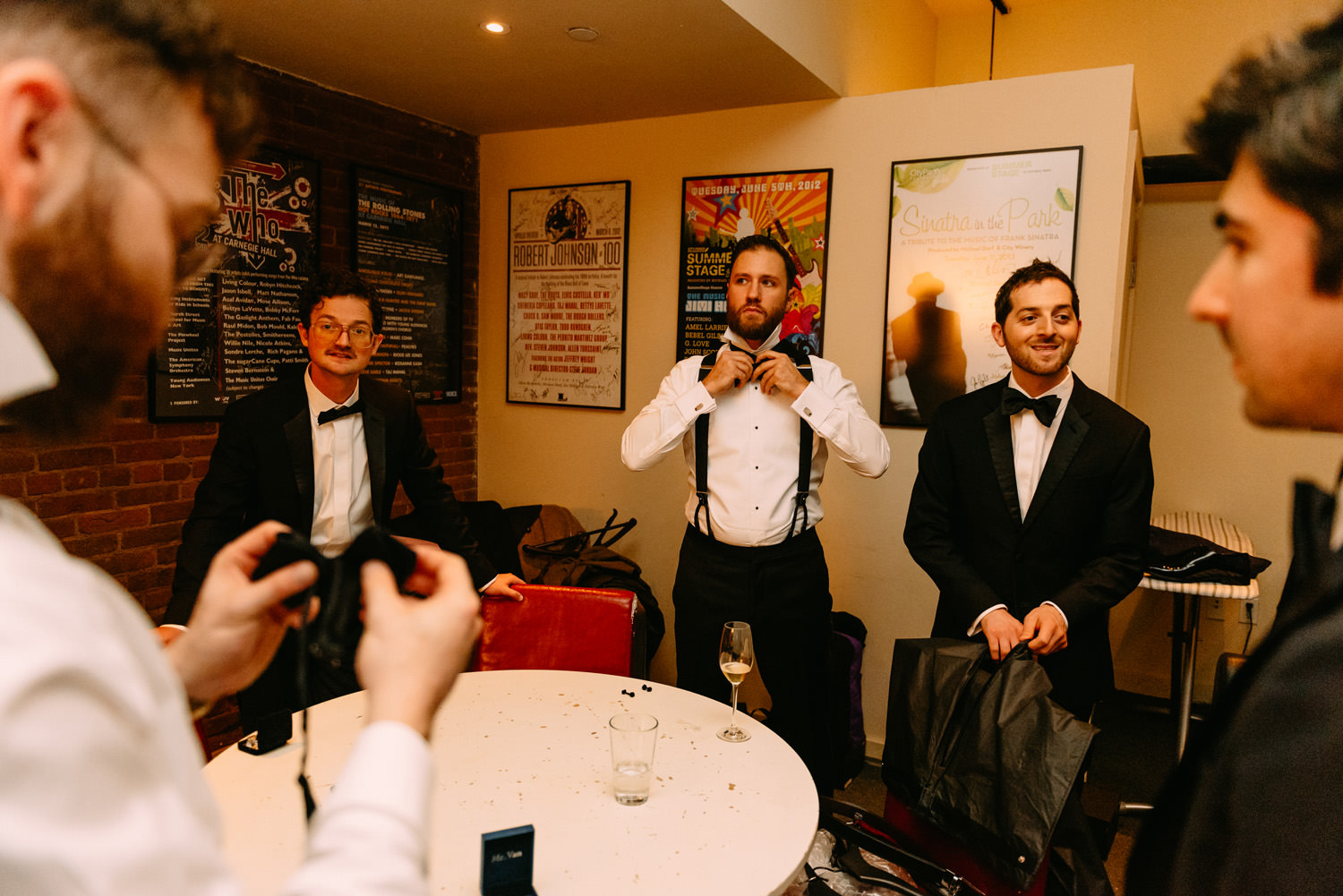 new york city winery wedding- groomsmen getting ready