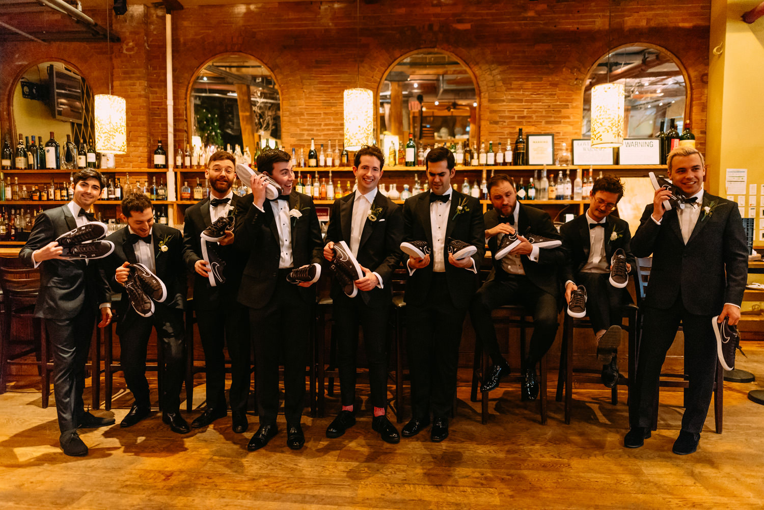 new york city winery wedding- groomsmen ready for the ceremony