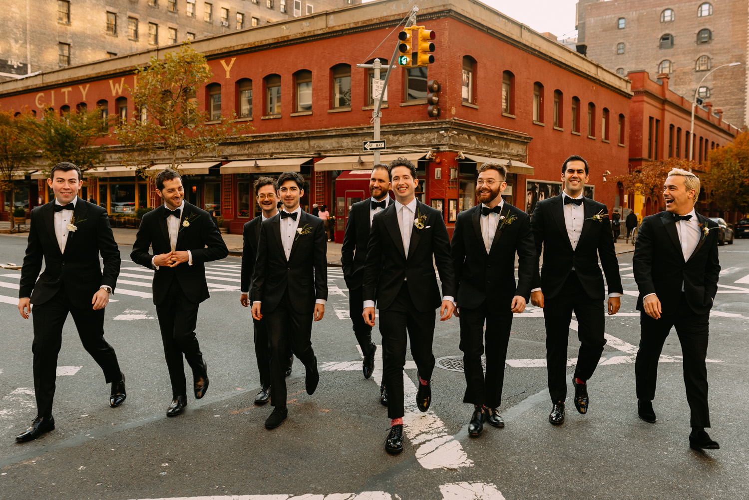 new york city winery wedding- groomsmen walking on the NYC streets