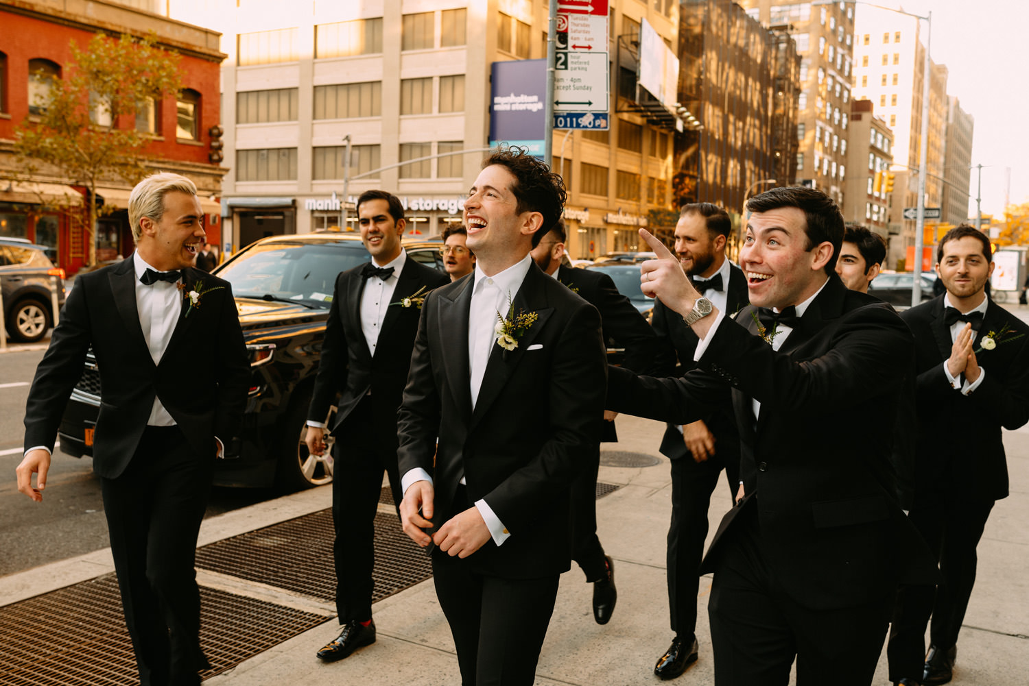 the groom and witnesses on the street in New York City