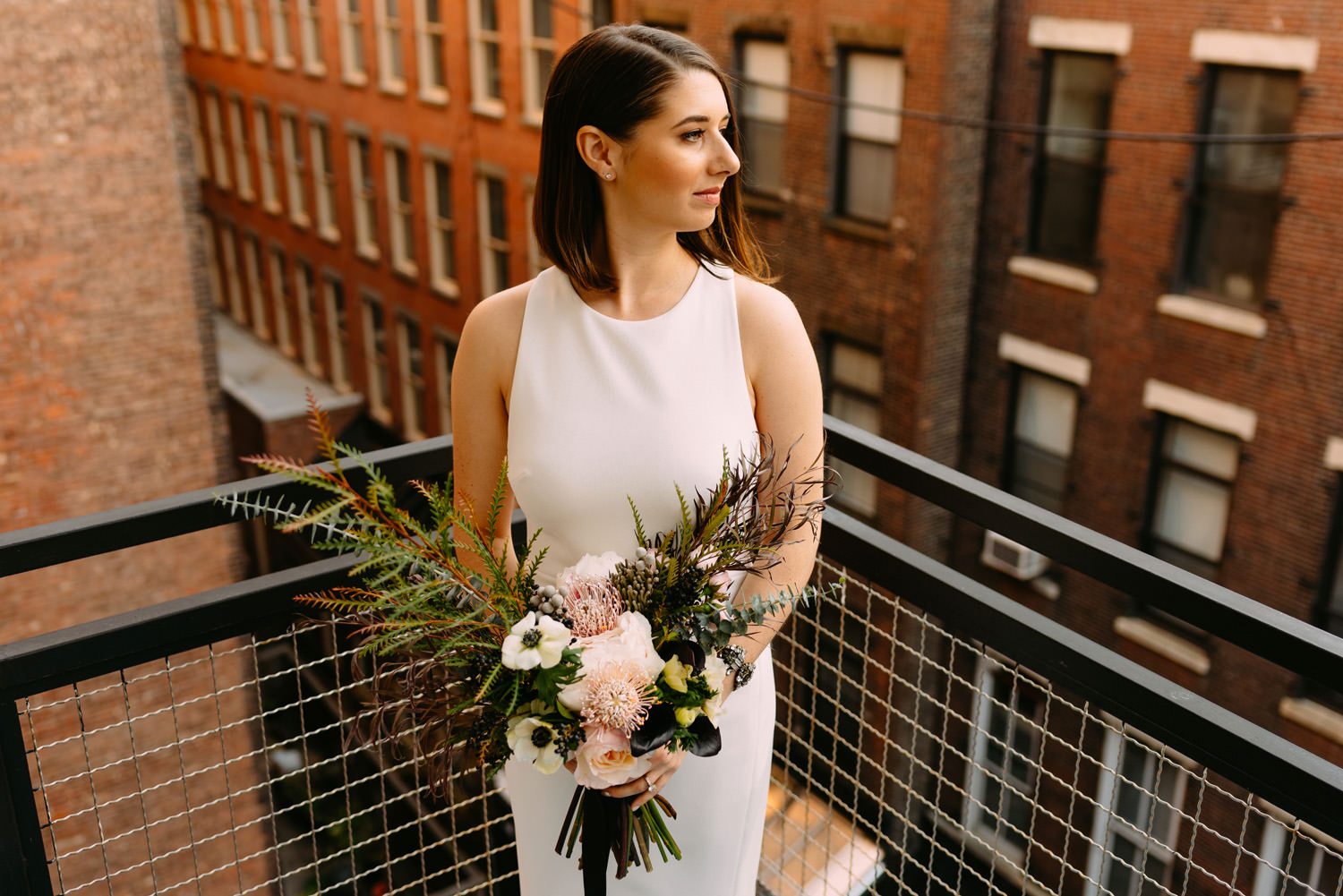 new york city winery wedding - the bride waiting for the ceremony