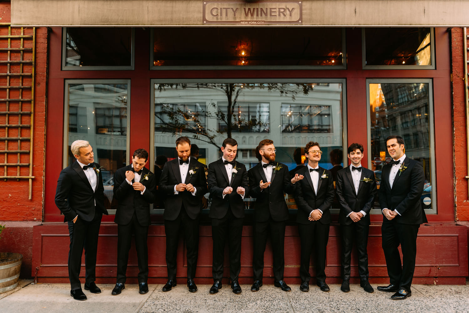 new york city winery wedding- groomsmen in front of the building