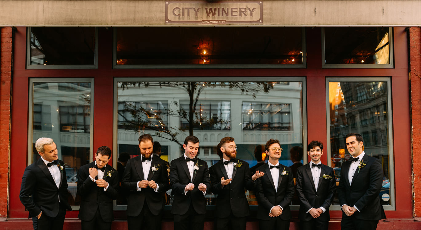 city winery wedding in new york city- preparations of the groomsmen- Luke Sezeck