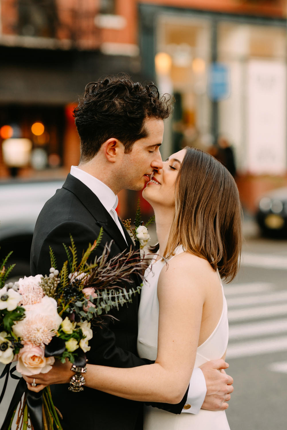 new york city winery wedding - amazing first look and first kiss of bride and groom