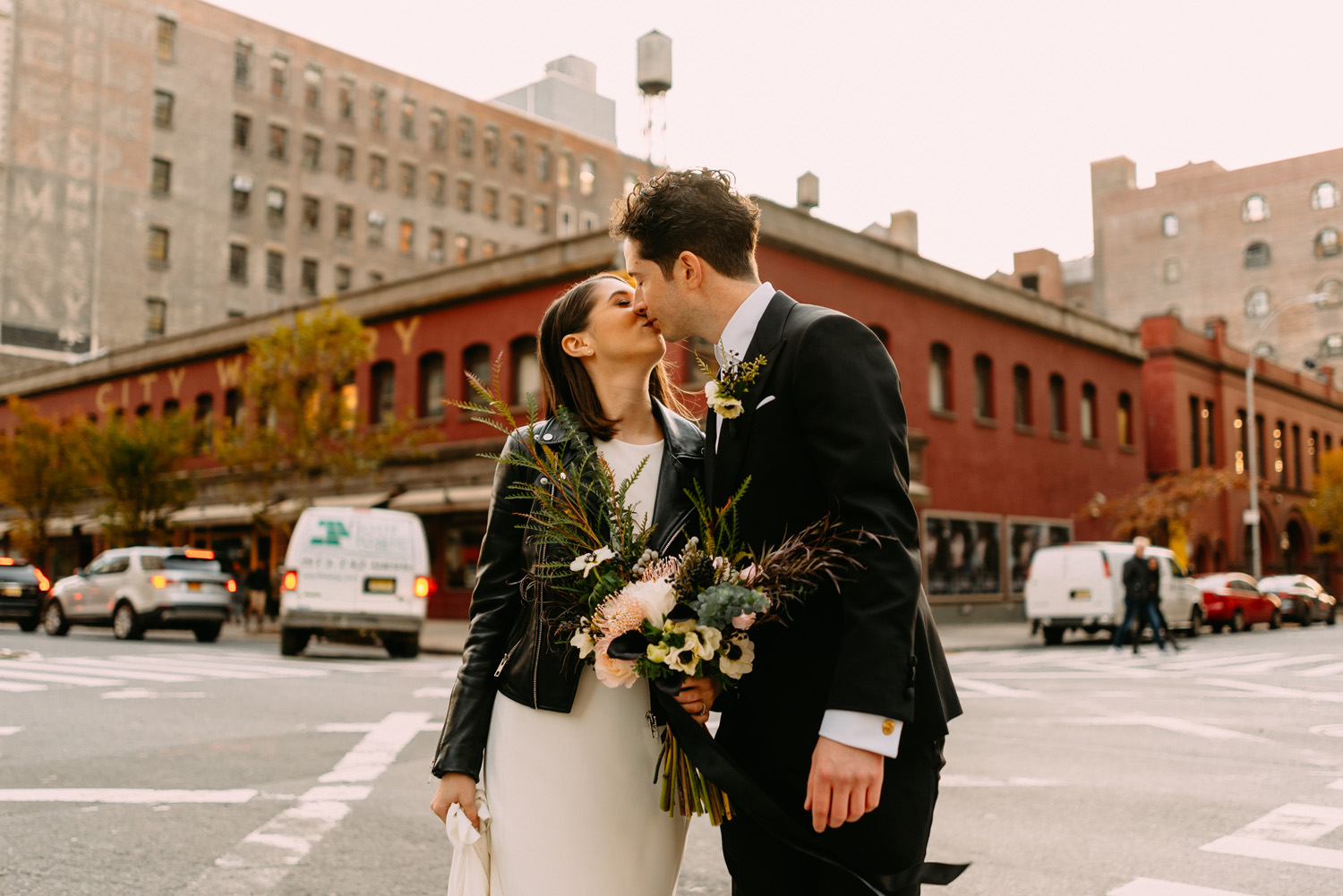 new york city winery wedding - fist look by Luke Sezeck