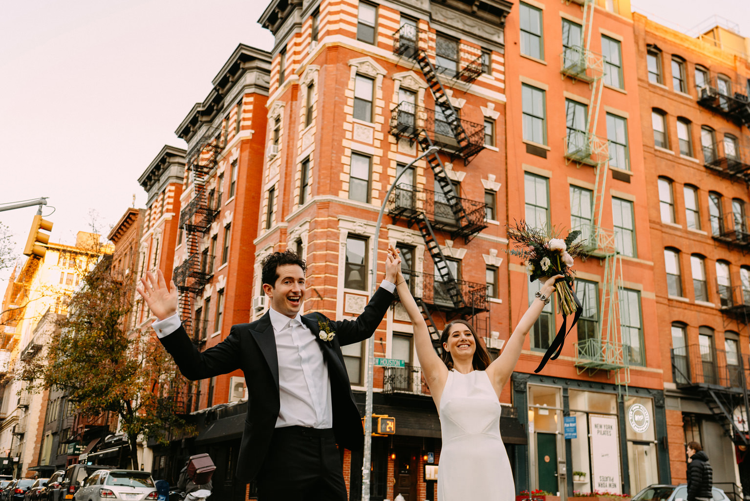 new york city winery wedding- first look on the streets of SOHO, Manhattan- Luke Sezeck Photographer
