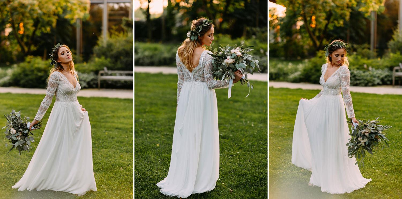 Rustykalny bukiet i suknia panny młodej- wesele w stylu rustykalnym- Luke Sezeck
