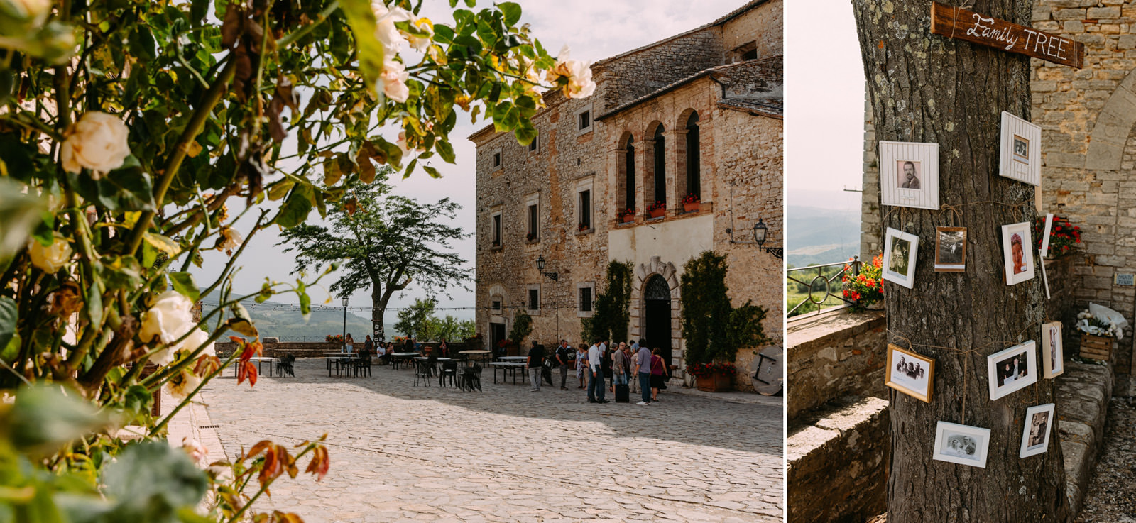 slub za granica- wloskie wesele i widok na dziedziniec Castello di Titignano- luke sezeck
