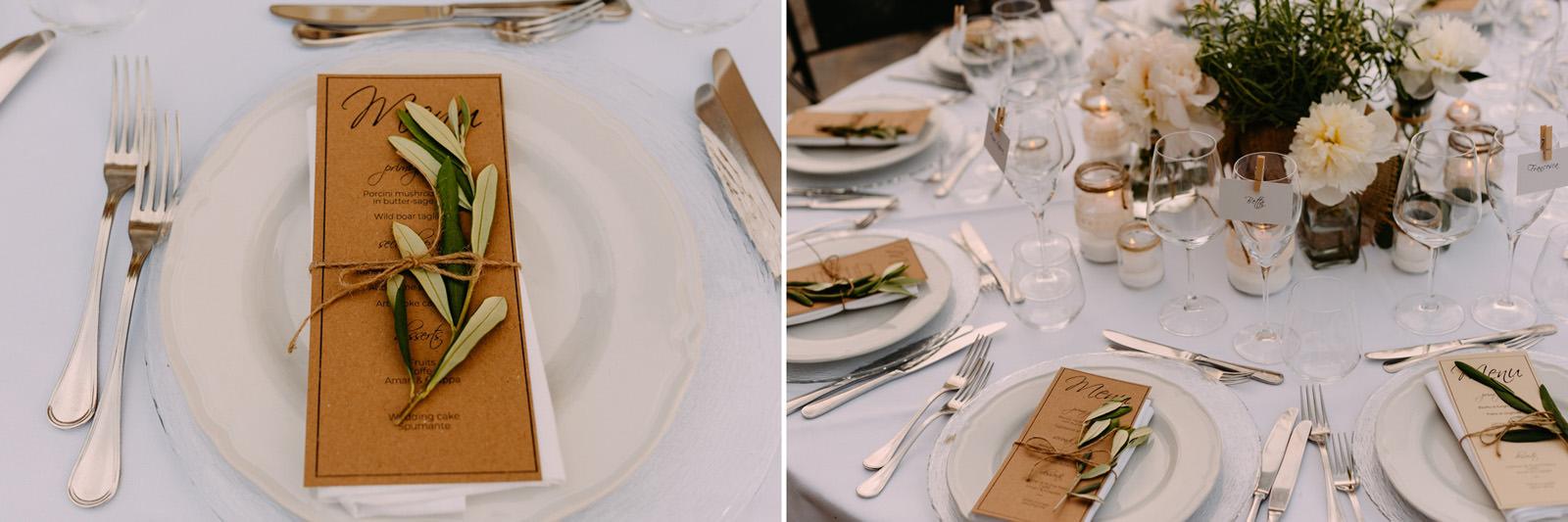 dekoracje stołu na weselu we Włoszech