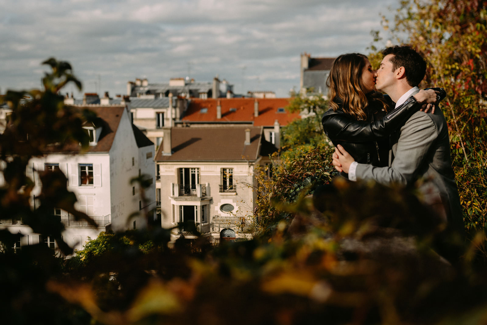 Intimate engagement portrait in Paris by Luke Sezeck wedding photographer - Montmartre